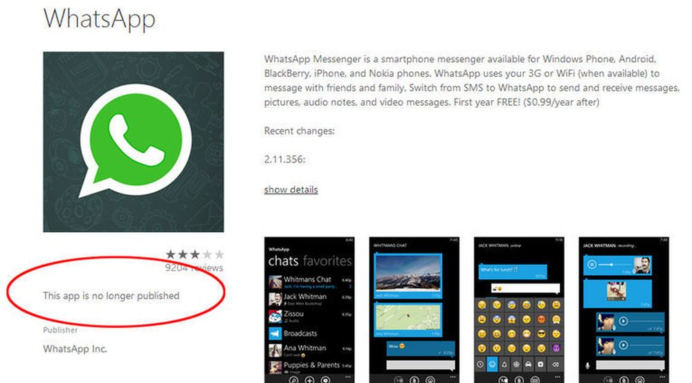 WhatsApp borte fra Windows Phone Store