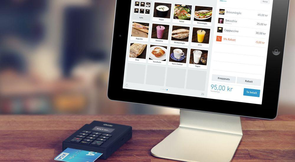 Kasseapparat bestående av en iPad og iZettle.