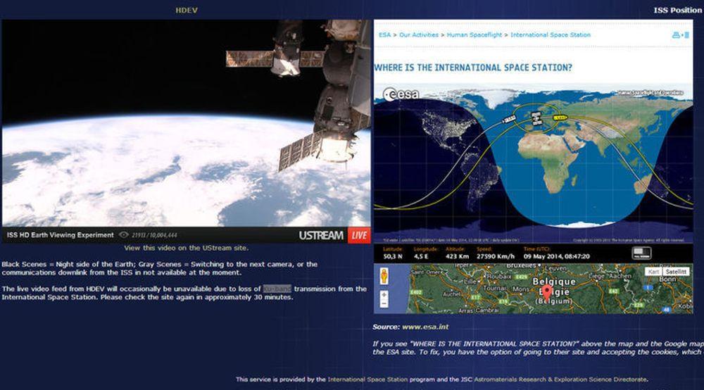I nettleseren kan man følge med på hvor romstasjonen ISS befinner seg og se direktesendte bilder fra kameraer som ble montert på romstasjonen i april i år. En lenke til denne siden er oppgitt i artikkelen nedenfor.