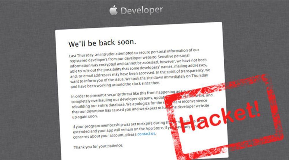 Apple bekreftet søndag at utviklersidene deres har vært utsatt for et angrep. Da hadde tjenesten vært nede i tre dager med «vedlikehold» som forklaring.