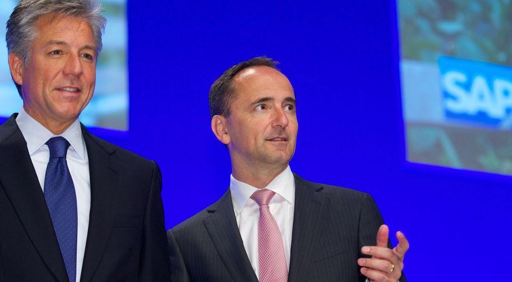 Bill McDermott (til venstre) og Jim Hagermann Snabe forsikrer at deres vennskap og partnerskap vil komme SAP til gode når McDermott blir enerådende CEO og Snabe går fra ledergruppen til styret.
