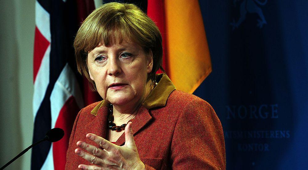 KREVER SVAR: Tysklands forbundskansler Angela Merkel vet godt at USAs overvåking av nettjenester har vakt sterke reaksjoner i Europa. Bildet er fra en lynvisitt Merkel hadde til Norge i februar.