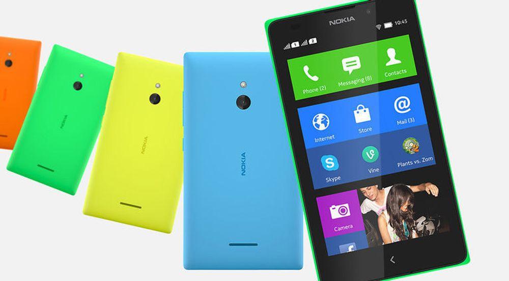 Nokia X-familie, her representert ved toppmodellen XL, deler i stor grad den samme designen som Nokias Lumia-telefoner.
