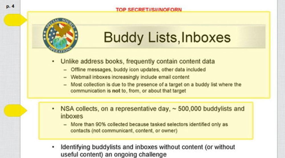 Kontaktlister og adressebøker fanges opp av NSA i et stort omfang, ifølge nye lekkasjer fra den nå spionsiktede Edward Snowden. Bildet viser en hemmelig internpresentasjon fra den amerikanske e-tjenesten.