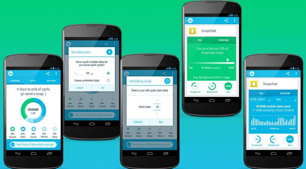 Utvalge skjermbilder fra Onavo Count for Android viser hvordan appen fungerer.