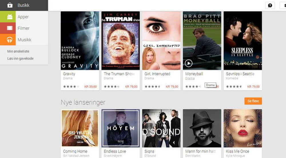 Google Play tilby nå musikk og film i Norge, flere år etter at dette ble tilgjengelig i USA.