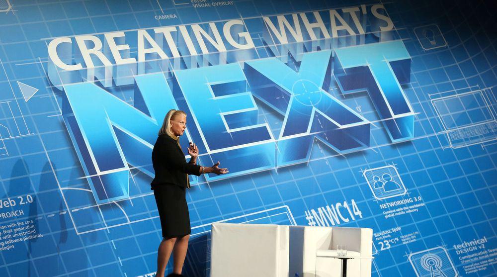 «Creating What's Next» var bakteppet for Virginia Romettys hovedinnlegg på Mobile World Congress i februar. I sitt brev til investorene legger IBM-sjefen mer vekt på hvordan «what's next» også skal snu trenden med sviktende omsetning.