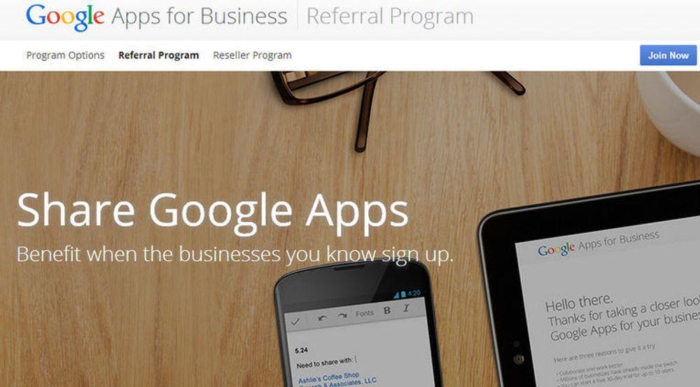 Google lover nå belønning til Google Apps-brukere som skaffer selskapet flere Google Apps-kunder.