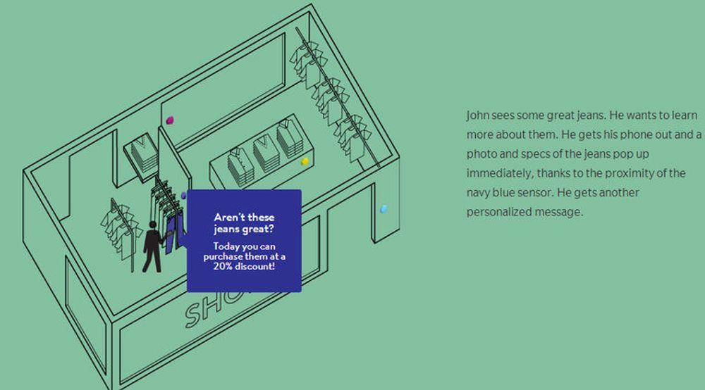 Apple iBeacons-teknologi i iOS 7 bygger på Bluetooth Low Energy og kan blant annet brukes til motta informasjon som tilbys brukeren basert på posisjonen inne i for eksempel en butikk.