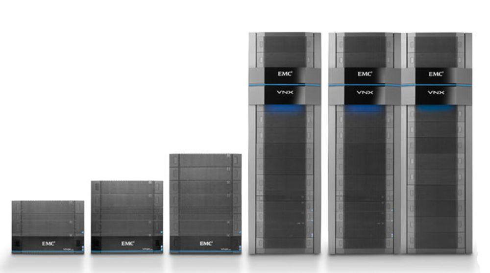 EMCs nye VNX kommer i flere størrelser. Den største er ikke avbildet: Den er like stor som de to nest største til sammen. Alle unntatt den minste er umiddelbart tilgjengelig.