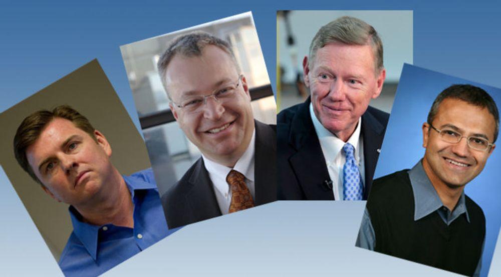 Lederkabal i Microsoft. Fra venstre: Tony Bates, Stephen Elop, Alan Mulally, Satya Nadella.