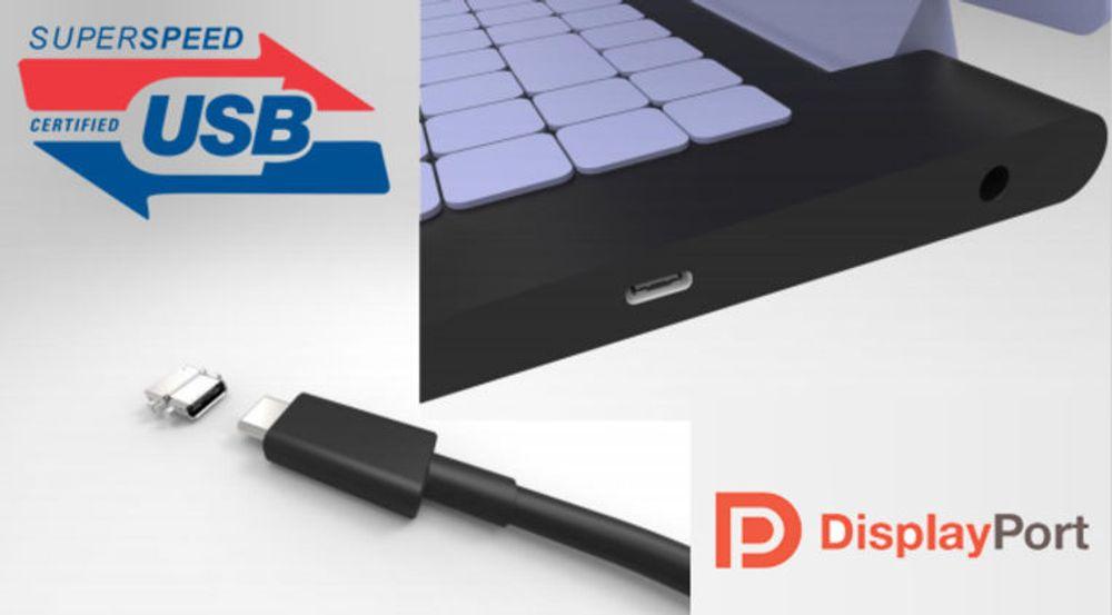 Den nye USB Type-C-kontakten kan levere både USB-signaler, strøm med opptil 100 watt effekt, samt DisplayPort-basert videostrøm til blant annet skjermer.