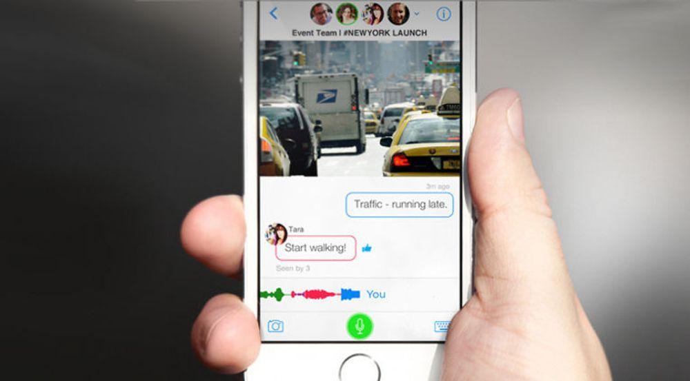 Samtalen er sentral i den nye mobilappen Talko. Målet er å gjøre telefon- og gruppesamtale mer interaktiv og tilgjengelig. Som vi ser av bildet er det også støtte for meldinger og deling av bilder.