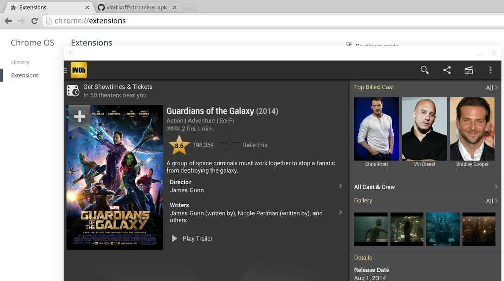 Android-appen til IMDb er blant dem som nå kan kjøres i Chrome OS etter en anelse konvertering.