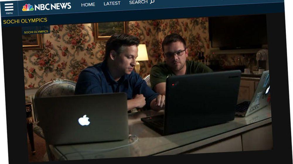Faksimile av den omstridte reportasjen til NBC News om IT-truslene som man angivelig blir spesielt utsatt for dersom man drar til OL i Sotsji. I videoen ser man NBCs Richard Engle og Kyle Wilhoit fra Trend Micro.