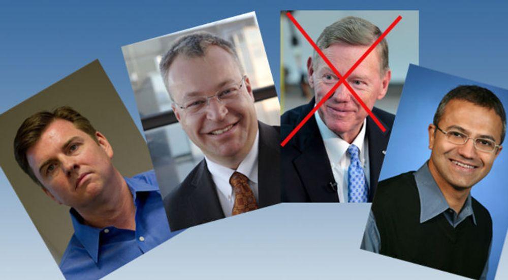 Ford-sjef Alan Mulally er antakelig ute av racet. De andre kjente kandidatene er interne: (fv) Tony Bates, Stephen Elop, Satya Nadella