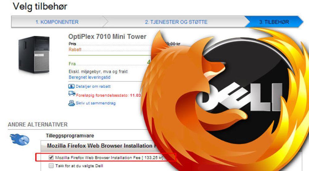 RØVERKJØP: Dell vil selge deg Firefox mot et gebyr på 133 kroner og 25 øre. Til gjengjeld slipper kunden den «svært krevende» oppgaven det er å installere nettleseren selv med et par klikk...