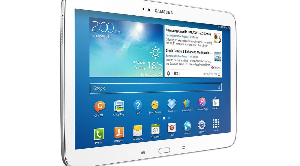 Ingen hadde større vekst i leveransene av nettbrett i fjor en Samsung, her representert ved nettbrettet Samsung Galaxy Tab 3 10.1.