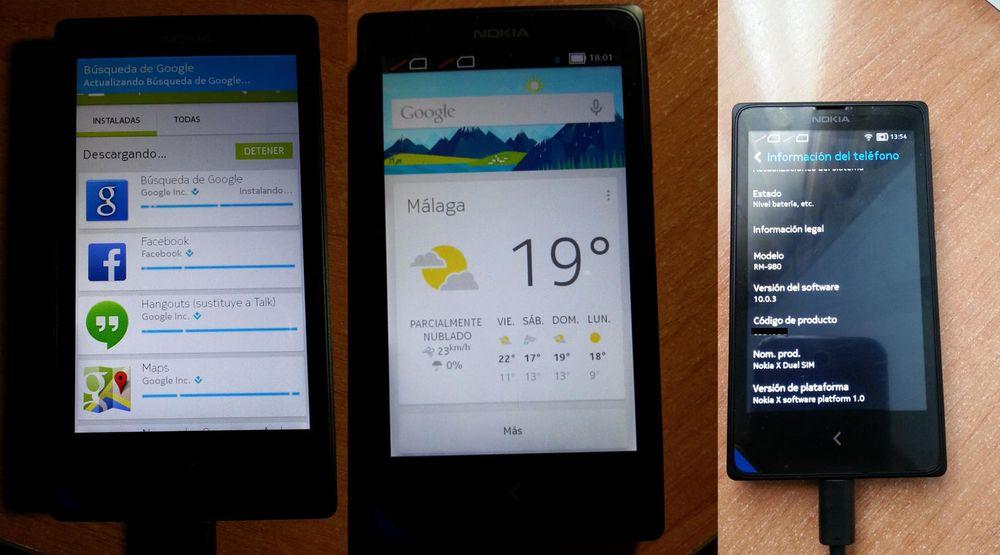 Til venstre laster Nokia X ned applikasjoner fra Google Play, blant annet Google Now/Search (midten).