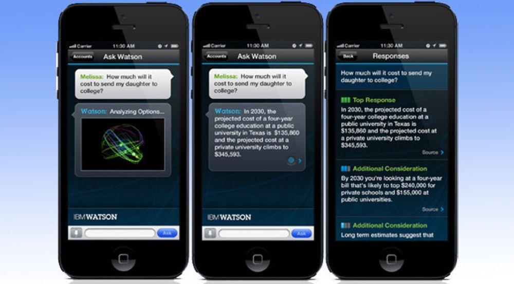Fra et tidlig forsøk med Watson som mobil app, med spørsmål, svar og forslag til hvordan gå videre med temaet.