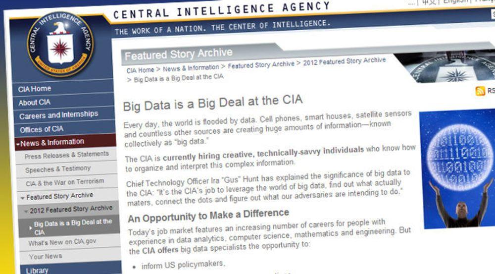 CIA rekrutterer spesialister innen big data og analyses.