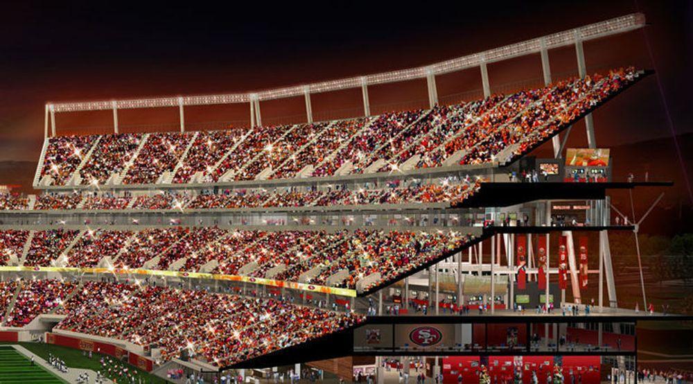 Konseptbilde av nye Santa Clara Stadium med plass til 68.500 elleville publikum. Alle skal kunne surfe raskt samtidig.