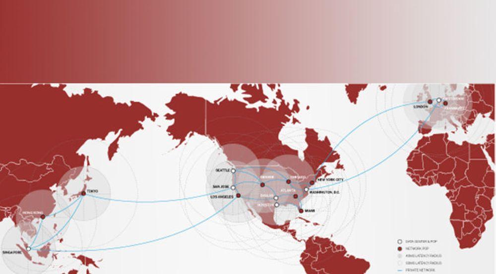 SoftLayer har et globalt nett av 9 datasentraler og 16 tilknytningspunkter. Kartet viser dekningsområdene for skytjenester i hovedsak rettet mot SMB-markedet. Selskapet teller i dag 25 000 kunder.