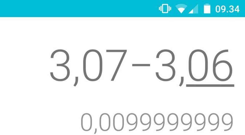Kalkulatoren som følger med Android 5.0 gir i ganske mange tilfeller noe pussige, men ikke helt feil, svar på regnestykker.