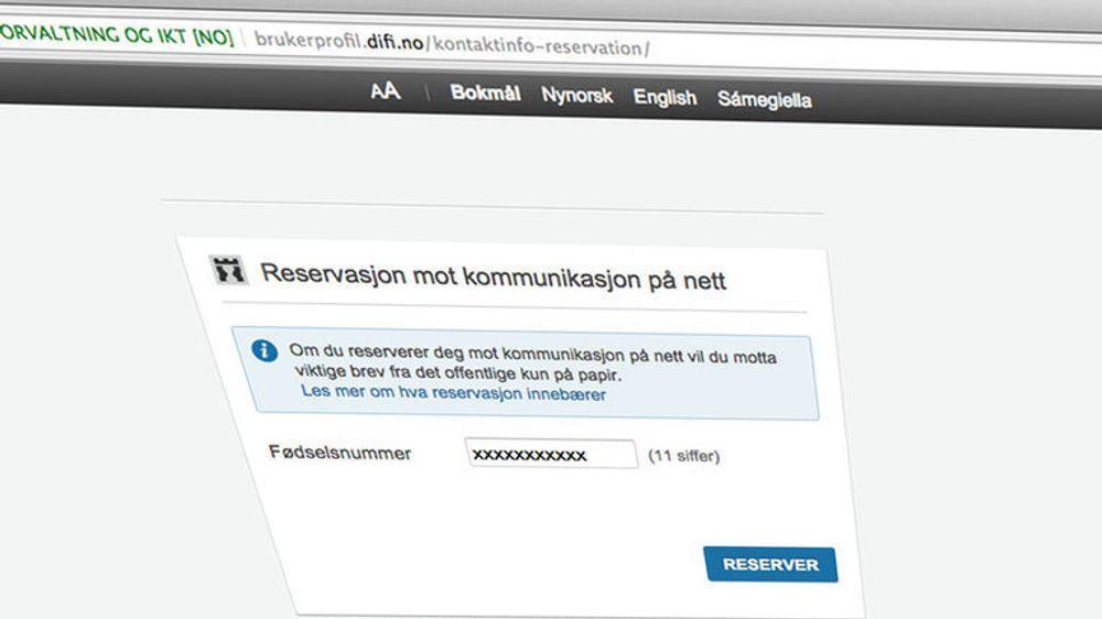 ÅPENT: Et fødselsnummer er alt som skal til for å frata innbyggere deres digitale førstevalg. Svært uheldig, mener IKT-Norge, som ber Difi ta ned løsningen inntil den er bedre sikret.