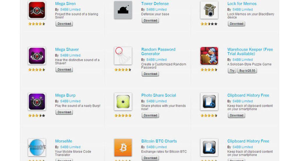 Noen få av de mange tusen applikasjonene det Hong Kong-baserte selskapet S4BB har laget til BlackBerry 10.