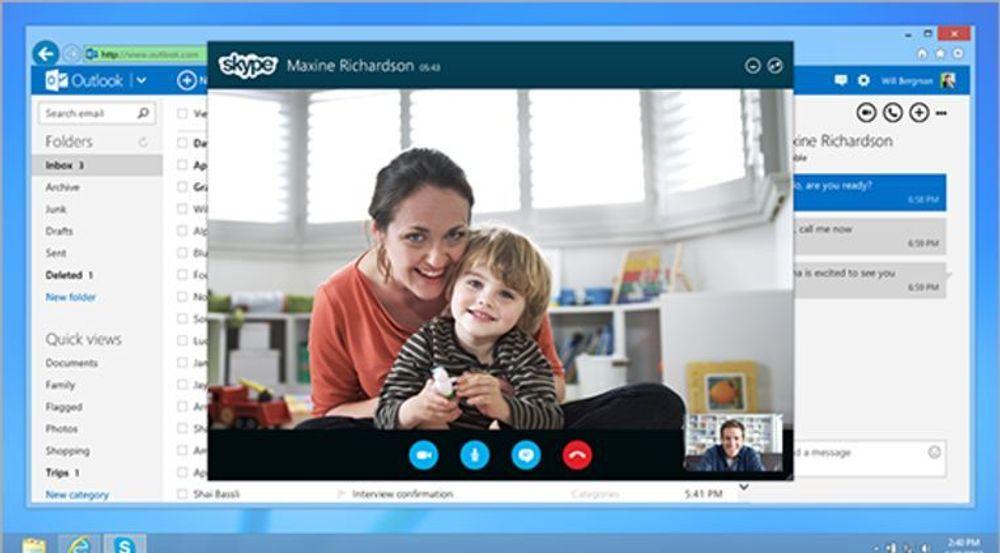 Skype integreres med Outlook.com