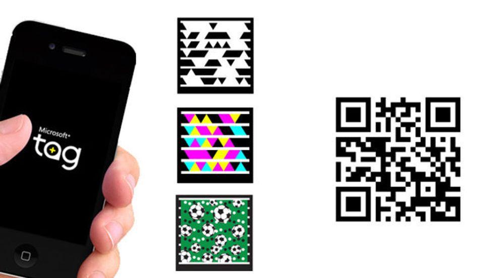 Til tross for farger og mer fleksibelt utseende, har Microsoft Tag aldri greid å nå opp i konkurransen med QR-kodene, som den til høyre i bildet.