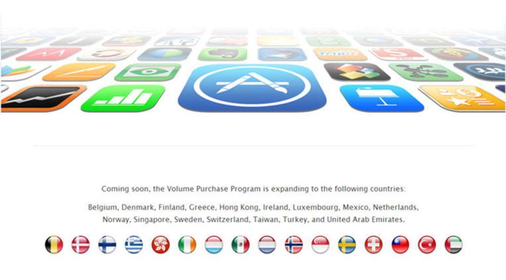 Større virksomheter får snart anledning til å kjøpe inn apper til alle ansatte samtidig. Apple varsler at de nå vil utvide volumsalget også til Norge og flere andre land.