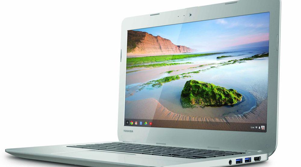 Chromebook som denne avbildede modellen fra Toshiba er med på å bidra til mer optimistiske prognoser i pc-markedet enn på lenge.