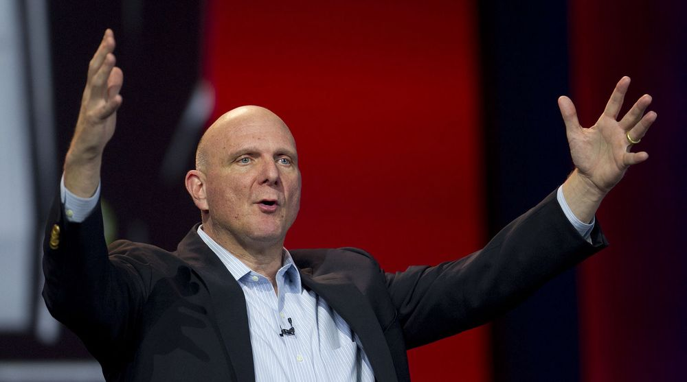 Steve Ballmer, chief executive officer of Microsoft Corp., speaks during the Qualcomm Inc. keynote address at the 2013 Consumer Electronics Show in Las Vegas, Nevada, U.S., on Monday, Jan. 7, 2013. The 2013 CES trade show, which runs until Jan. 11, is the worlds largest annual innovation event that offers an array of entrepreneur focused exhibits, events and conference sessions for technology entrepreneurs. Photographer: Andrew Harrer/Bloomberg via Getty Images