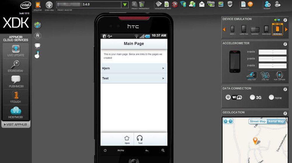 Brukergrensesnittet for utvikling og testing av HTML5-baserte applikasjoner. På «mobilskjermen» vises en svært enkelt applikasjon laget på to minutter ved hjelp av en veiviser.
