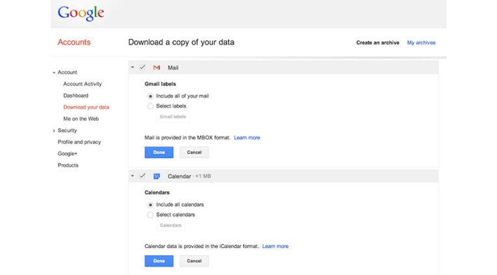 Nå kan man laste ned alle kalenderdataene i Google Kalender til til ICS-fil. Men muligheten for å laste ned all e-post fra Gmail som én fil er ennå ikke helt klar til bruk.