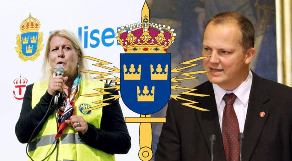 Sveriges infrastrukturminister Catharina Elmsäter-Svärd skal tirsdag møte samferdselsstatsråd Ketil Solvik-Olsen (Frp) for å drøfte svenskenes overvåking.