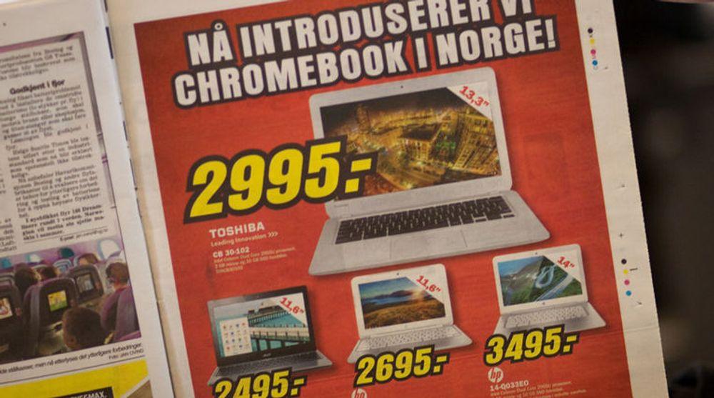 En elektronikkjede har kjøpt helsides annonse i dagens VG for å kunngjøre lanseringen av Chromebook i Norge.