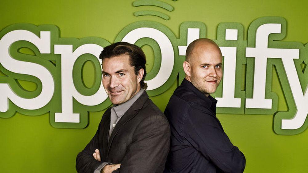 Daniel Ek og Martin Lorentzon har greid å få 10 millioner brukere til å betale månedlige beløp for musikk-strømmetjenesten de lanserte i 2008.