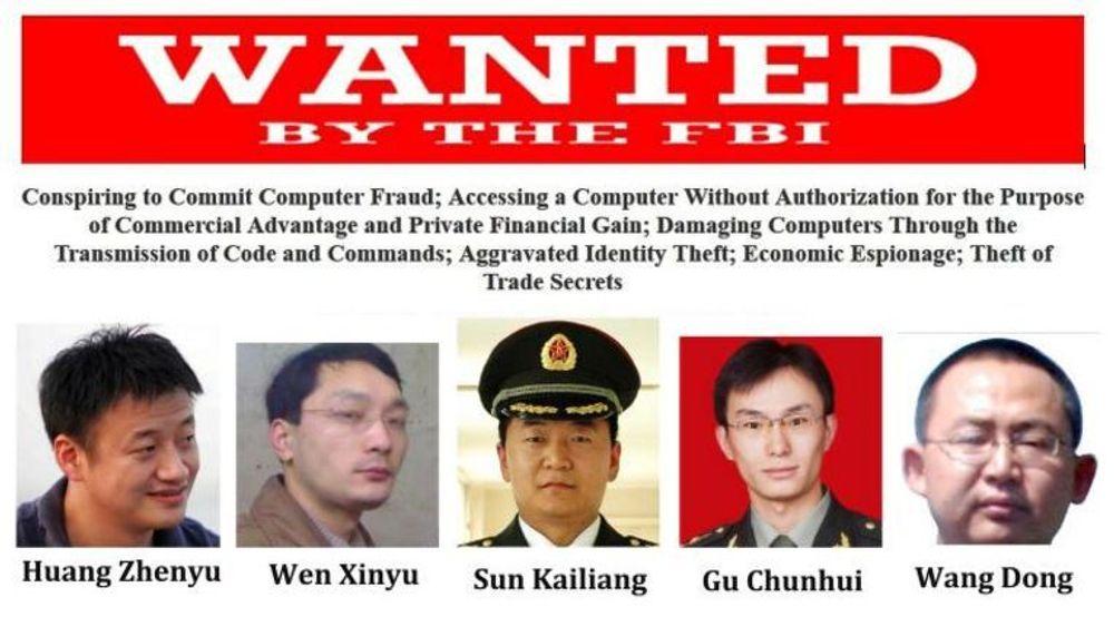 USA tok mandag ut tiltale mot disse fem i det kinesiske militære, som anklages for å ha stått bak omfattende datainnbrudd og spionasje mot amerikanske bedrifter.