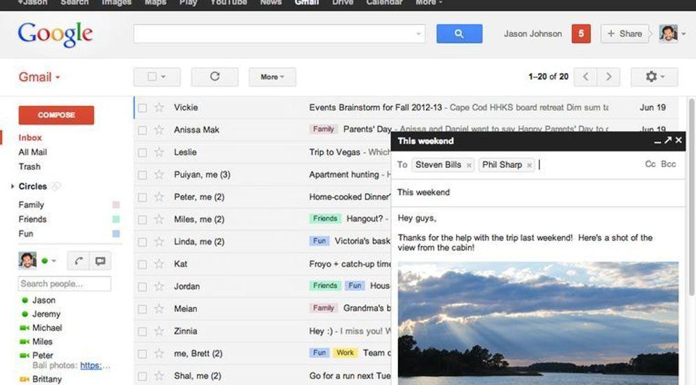 Gmail, slik e-posttjenesten har framstått i det siste.