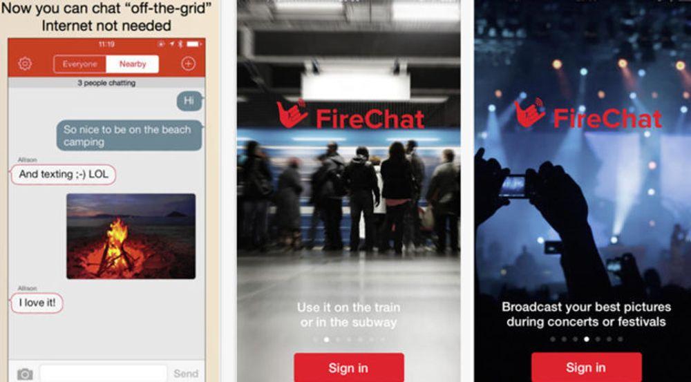 FireChat-appen gjør det mulig å sende meldinger og filer mellom enheter i et mesh-nettverk, også der det verken finnes internett eller mobildekning.