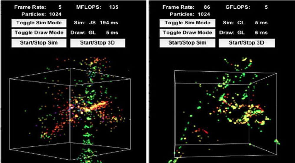 En webapplikasjon som beregnet posisjon og hastigheten til N-partikler, samt animerer disse. Simuleringen tar betydelig kortere tid i testen til høyere, hvor også WebCL er benyttet, i tillegg til WebGL.