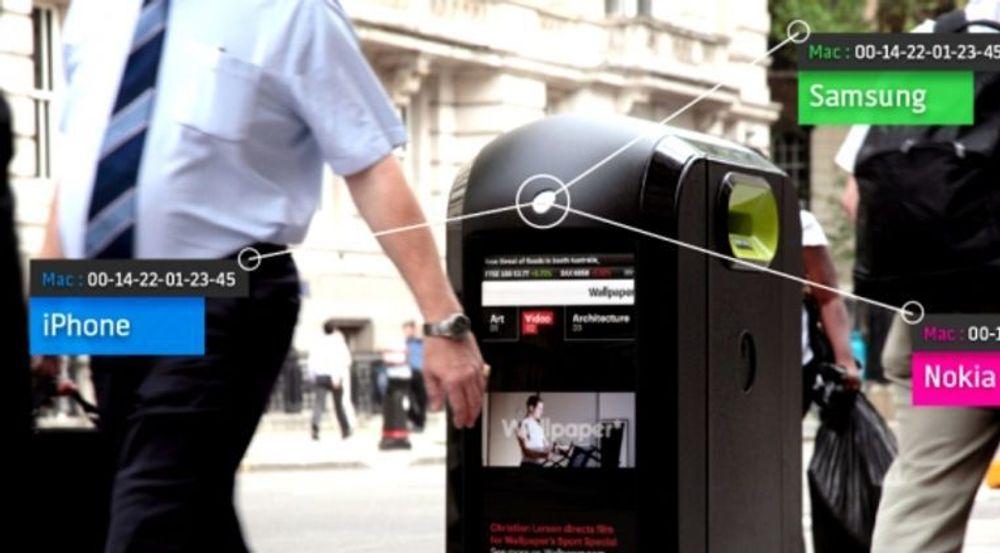 Forøkene med å la søppelkasser skanne smarttelefoner, Renew ORB, ble stanset sporenstreks etter at styresmaktene i London fikk vite om det. Bildet er en illustrasjon fra selskapet om hvordan løsningen fungerer.