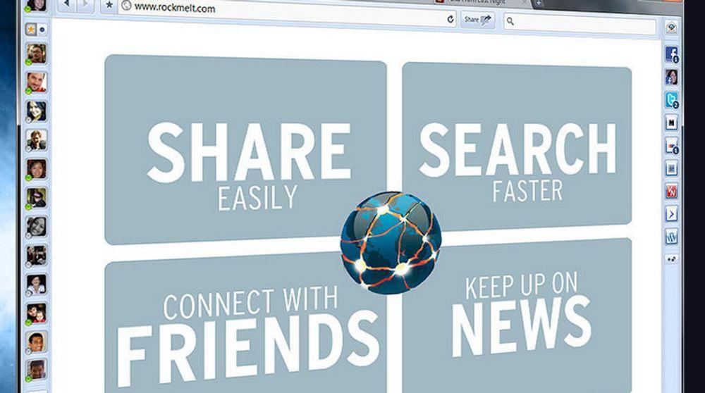 Rockmelt var basert på Googles Chromium-prosjekt, men med funksjonalitet på toppen som var optimalisert for konsumering av sosiale nettverkstjenester. Nå forsvinner Rockmelt som nettleser for å bli en integrert del av Yahoos tjenester. Skjermbildet viser en tidlig betaversjon av Rockmelt fra 2010.