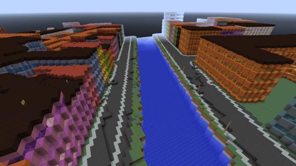 Slik ser Nyhavn i København ut i Minecraft.