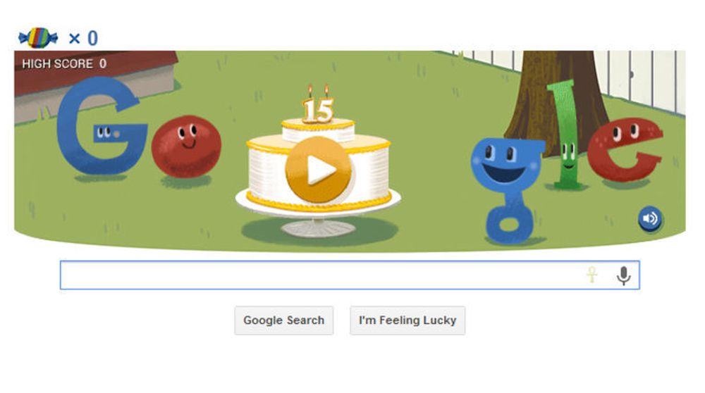 Google feier 15-årsdagen for selskapets søketjeneste med et doodle-spill.