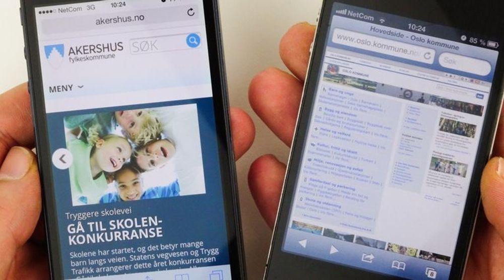 Mens nettsidene til Akershus Fylkeskommune (til venstre) er tilpasset mobiltelefonen er det noe annet med Oslo Kommune sine nettsider.