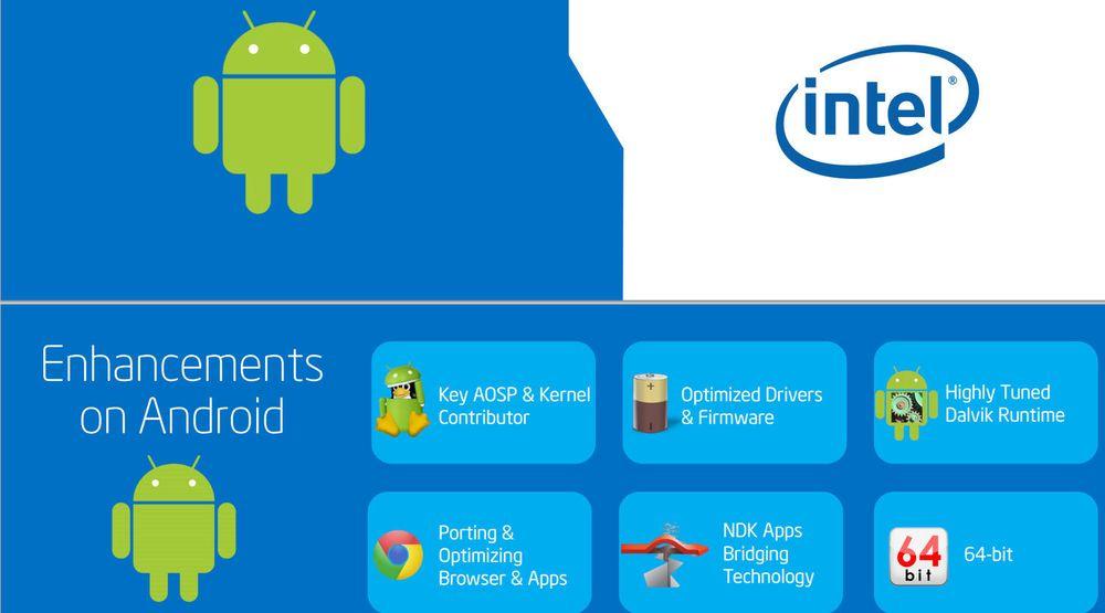 Intel bidrar med 64-bits støtte til Android, men det store flertallet av smartmobiler benytter så langt ikke prosessorer fra Intel.